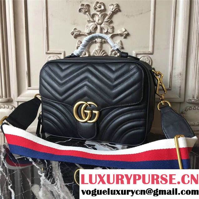 Gucci GG Marmont Chevron Quilted Top Handle Camera 25cm Bag Calfskin Leather 498100 Fall Winter 2017 Collection Black