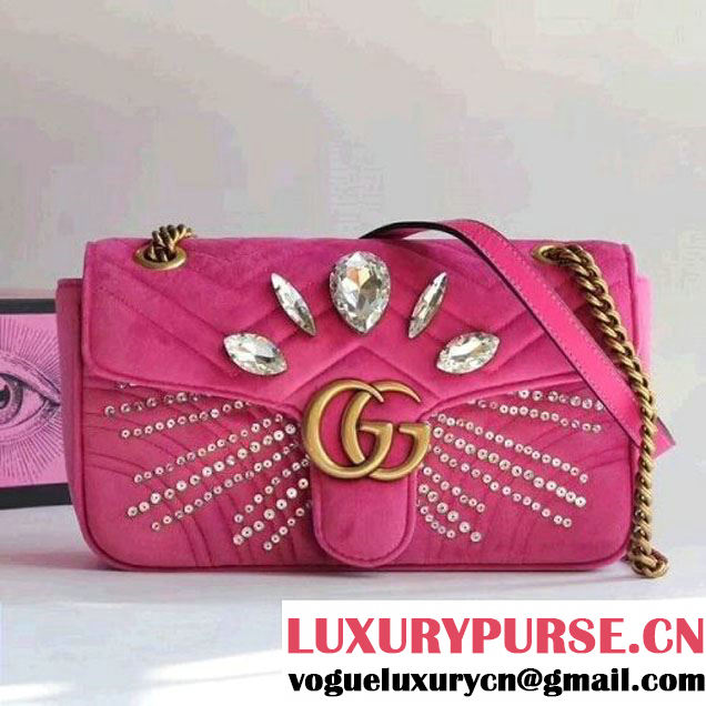 Gucci GG Marmont Velvet Small Shoulder Bag With Crystals 443497 Pink 2018 (SLP-7112109 )