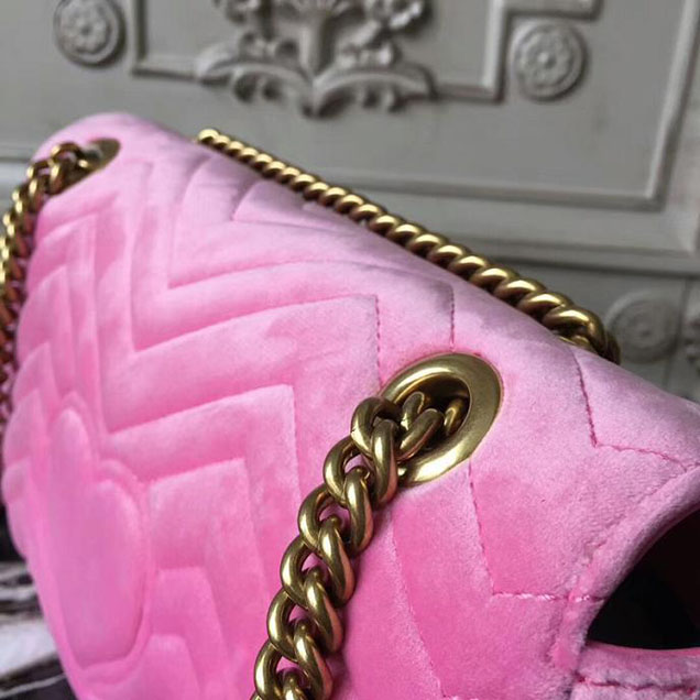 Gucci GG Marmont Velvet Small Shoulder Bag With Crystals 443497 Pink 2018 Collection