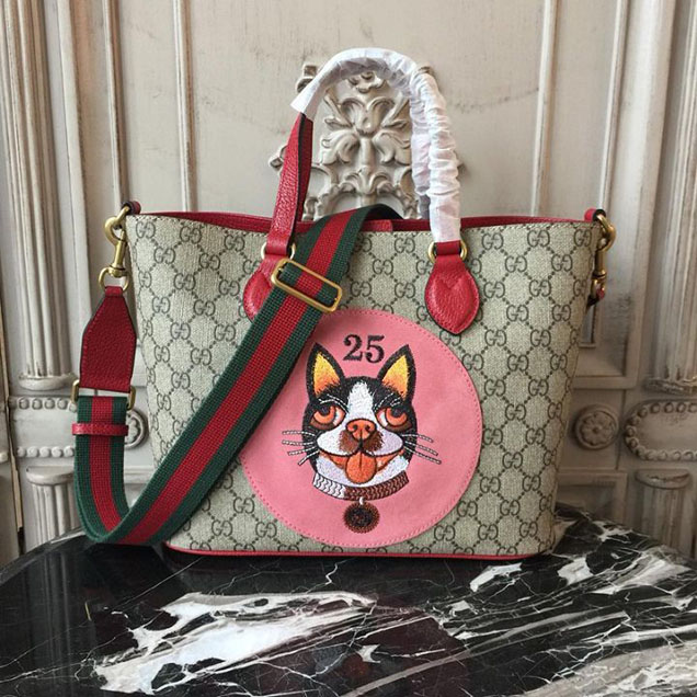Gucci GG Supreme Bosco Boston Terrier Shopping Tote 28cm 473887 Calfskin Leather Chinese New Year 2018 Collection Red
