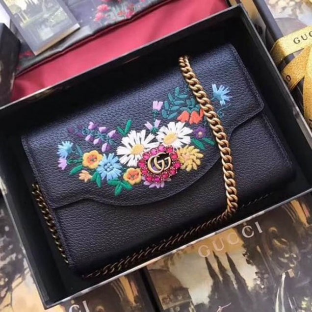 Gucci Embroidered Leather Mini Shoulder Bag 499314 Black 2018 Collection