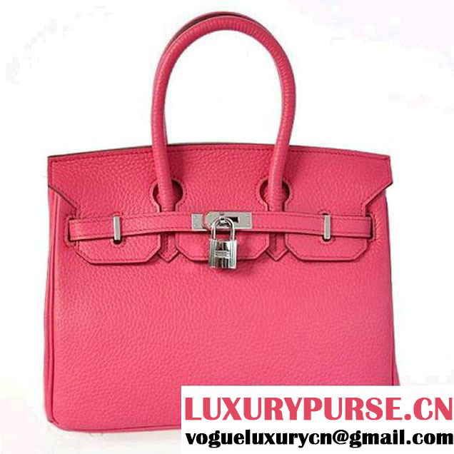 Hermes Birkin 25CM Tote Bags Togo Leather Peach Silver