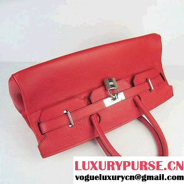 Hermes Birkin 6109 Togo Leather Bag Red 42CM Silver
