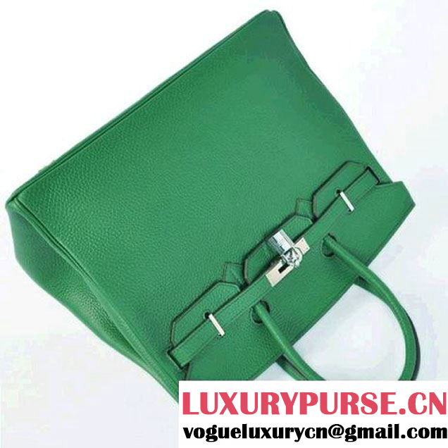 Hermes Birkin 35CM Tote Bags Togo Leather Dark Green Silver
