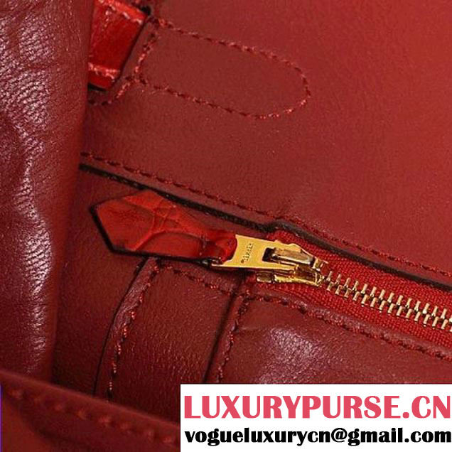 Hermes Birkin 35CM Red Shiny Croco Leather Tote Bag Gold
