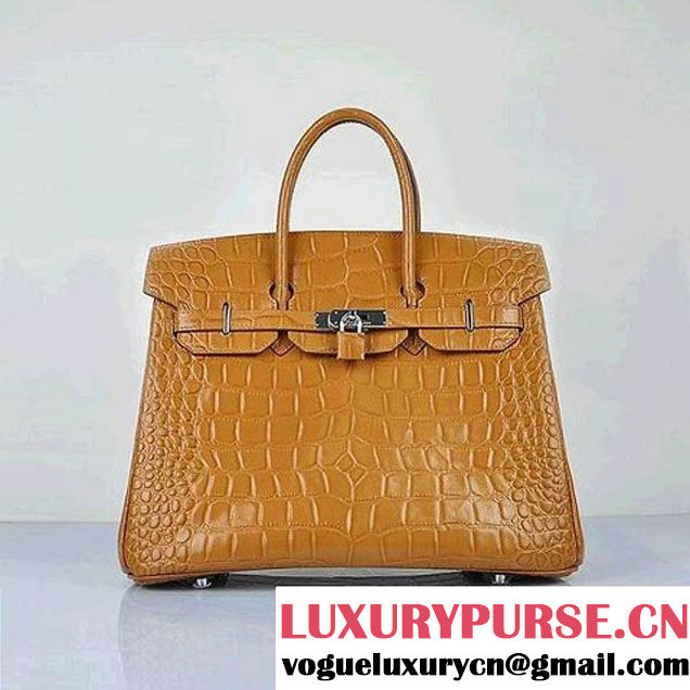 Newest 2012 Hermes Birkin 35CM Light Coffee Croco Leather Tote Bag Silver