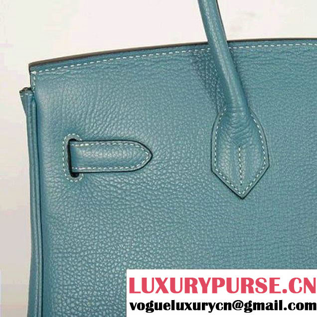 Hermes Birkin 35CM Tote Bags Smooth Togo Leather Blue Golden