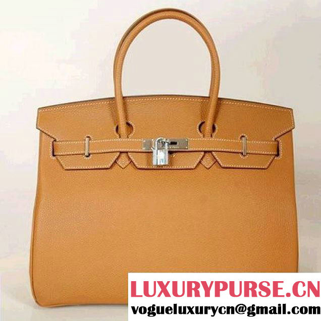 Hermes Birkin 35CM Tote Bags Smooth Togo Leather Camel Silver