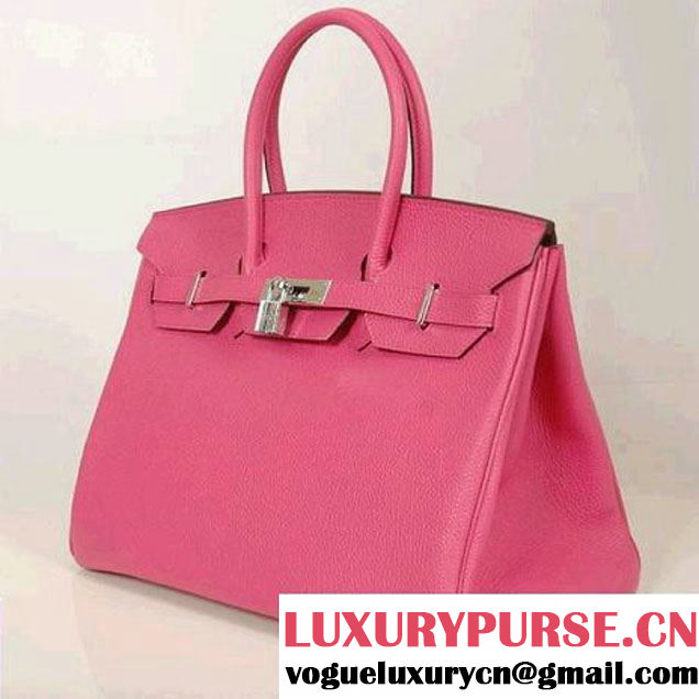 Hermes Birkin 35CM Tote Bags Smooth Togo Leather Peach Silver