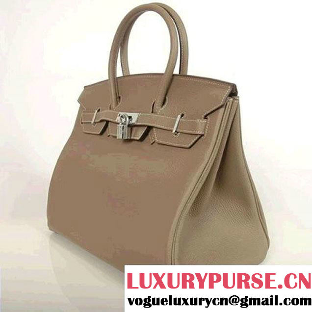 Hermes Birkin 35CM Tote Bags Smooth Togo Leather Dark Grey Silver