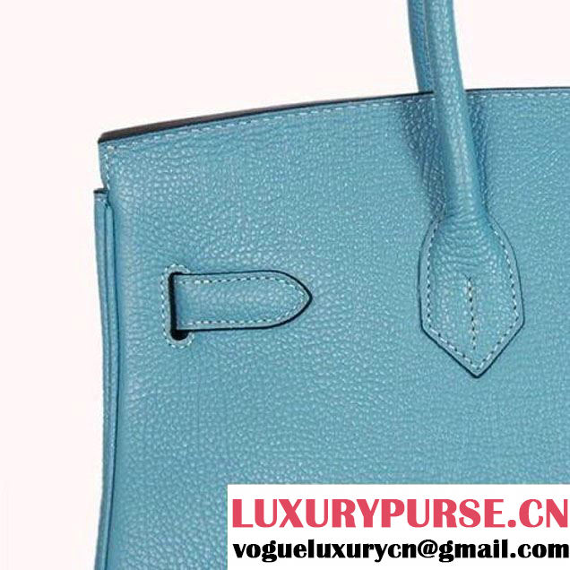 Hermes Birkin 35CM Tote Bags Smooth Togo Leather Light Blue Silver