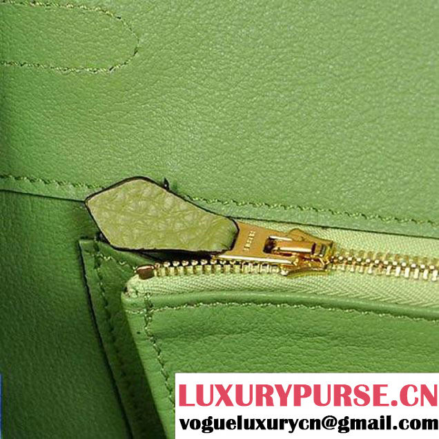 Hermes Birkin 35CM Tote Bags Togo Leather Light Green Golden