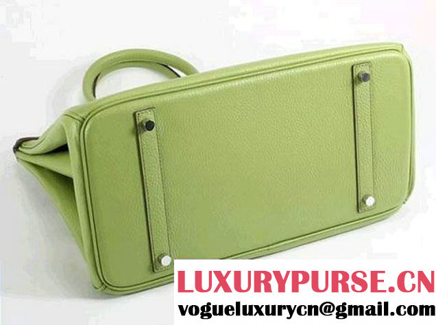Hermes Birkin 35CM Togo Leather Handbag 6089 Green Silver