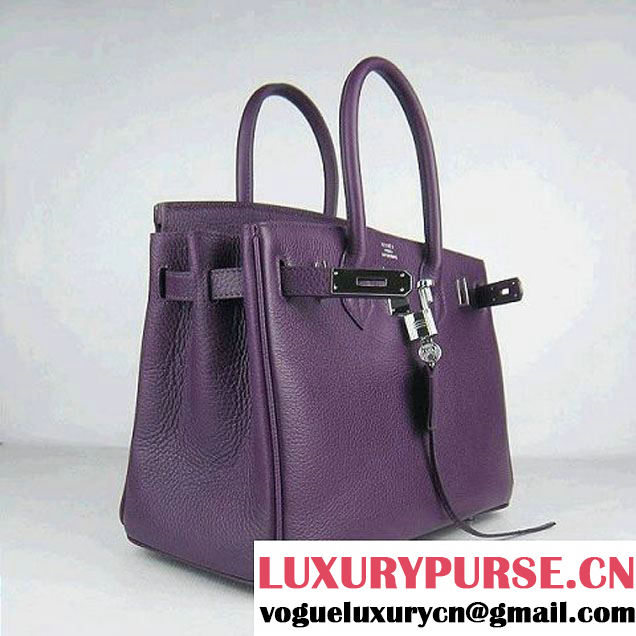 Hermes Birkin 30cm Togo Leather Bag Purple 6088