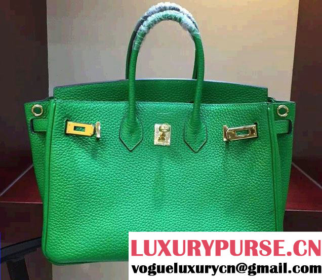 Hermes Togo Leather Birkin 30cm Medium Bag Green 2016