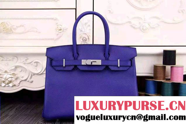 Hermes Birkin 30/35 Bag in Original Epsom Leather Bag Royal Blue