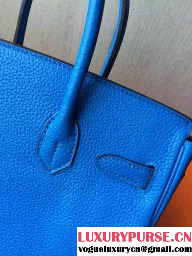 Hermes Birkin 30/35 Bag in Original Togo Leather Bag Light Blue