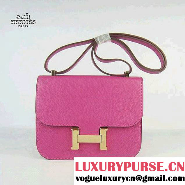 Replica Hermes H017 Peach Leather Gold Hardware