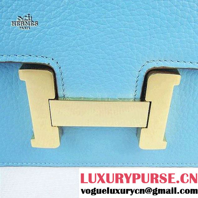 Replica Hermes H017 Light Blue Leather Gold Hardware