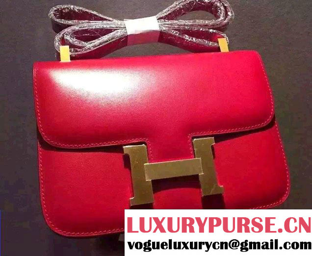 Hermes Original Box Leather Constance 18cm/23cm Bag Red