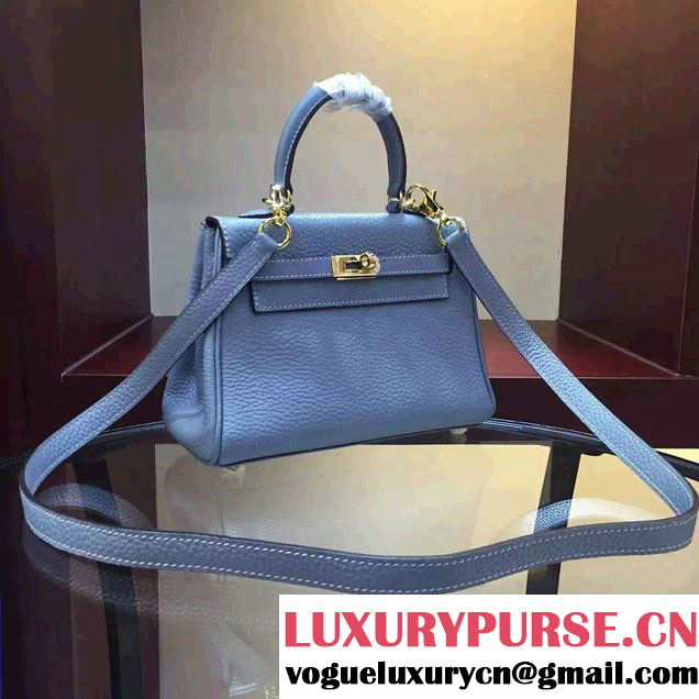 Hermes Clemence Leather Kelly 20cm Mini Bag Baby Blue 2016