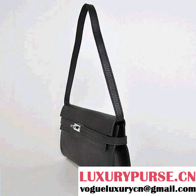 Hermes Kelly 26CM Shoulder Bag Clemence Black