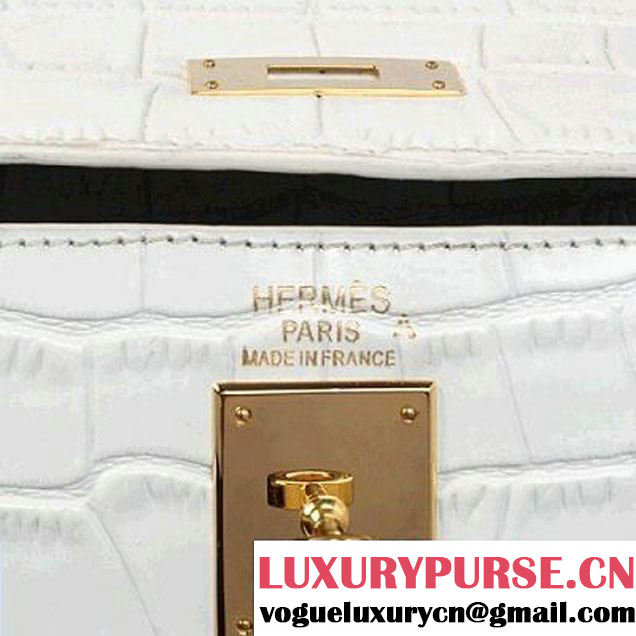 Hermes Kelly 32cm Top Handle Bag Grey Croco Leather Gold