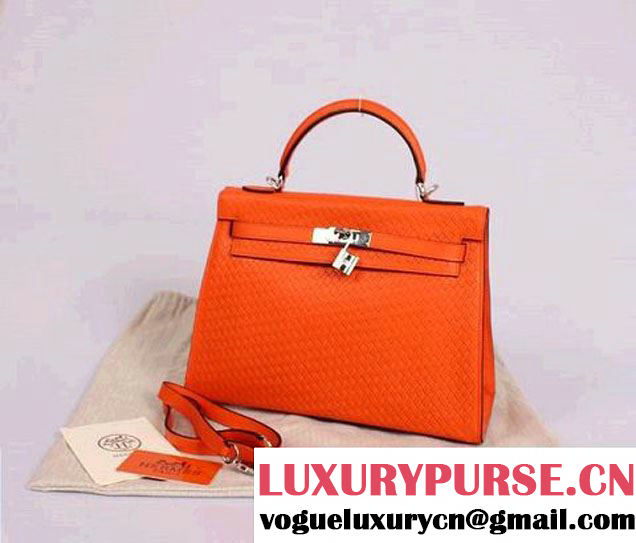 Hermes Kelly 32cm Top Handle Bag Orange Woven Leather Silver