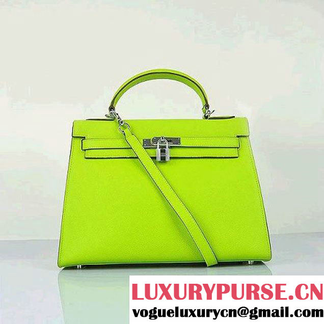 Hermes Kelly 32cm Shoulder Bags H6108 Green Leather Silver