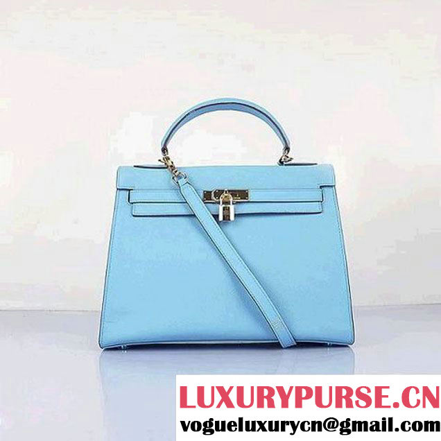 Top Quality Hermes Kelly 32cm Bags SkyBlue Calf Leather Gold
