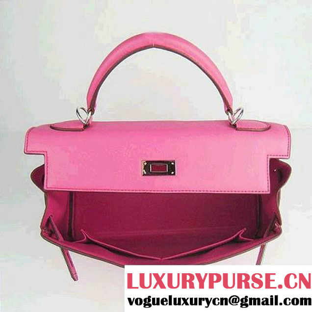 Hermes Kelly 32cm Bags Togo Leather 6108 Fuchsia Silver