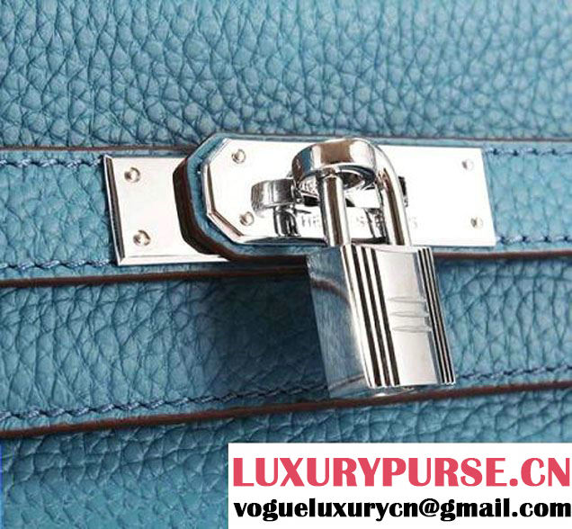 Hermes Kelly 32cm Togo Leather Handbags 6018 Blue Silver