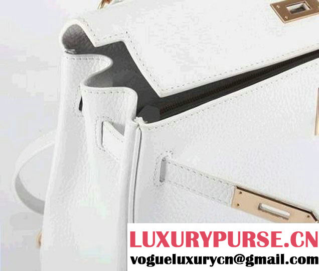 Hermes Kelly 32cm Togo Leather Handbags 6018 White Golden