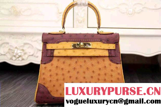 Hermes Ostrich Leather Kelly 28/32 Tricolor Bag Turmeric/Purple/Yellow 2015