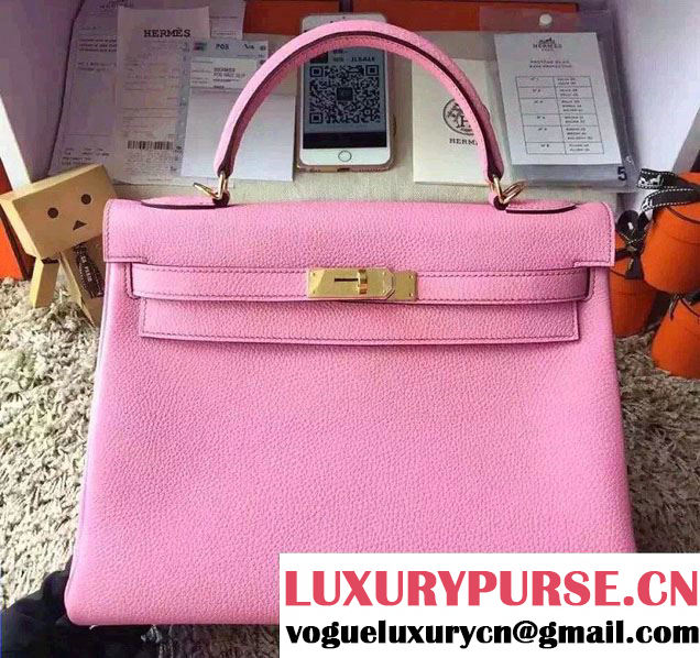 Hermes Kelly 32cm Original Togo Leather Bag Cherry Pink