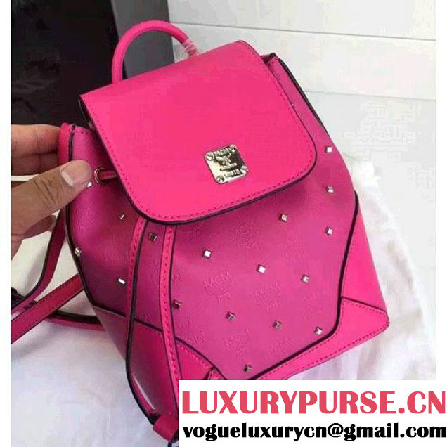 MCM Claudia Studs Backpack With Flap Rosy 2016 (3B031-6031208 )