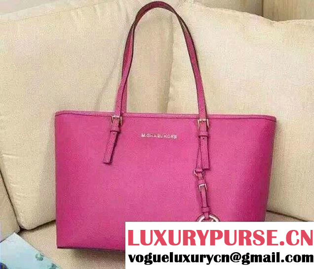 Michael Kors Jet Set Travel Multifunction Saffiano Leather Tote Bag Fuchsia 2015