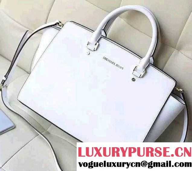Michael Kors Selma Saffiano Leather Satchel Tote Bag White 2015