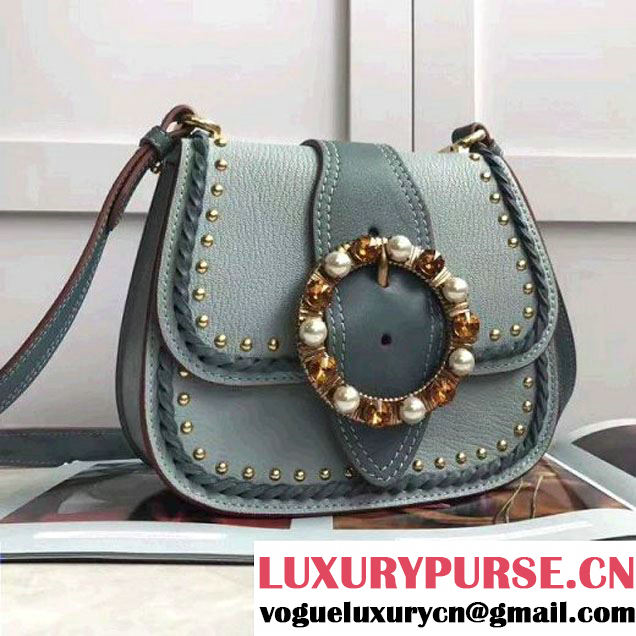 Miu Miu Monk Nappa Leather Shoulder Bag With Jeweled Buckle 5BD034 Blue 2017 (JD-7042624 )