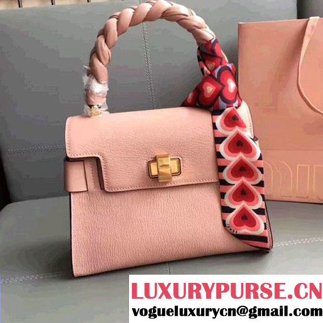 Miu Miu Madras Goat Leather Top Handle Bag With With Braid Handle 5BA046 Pale Pink 2017 (JD-7060824 )