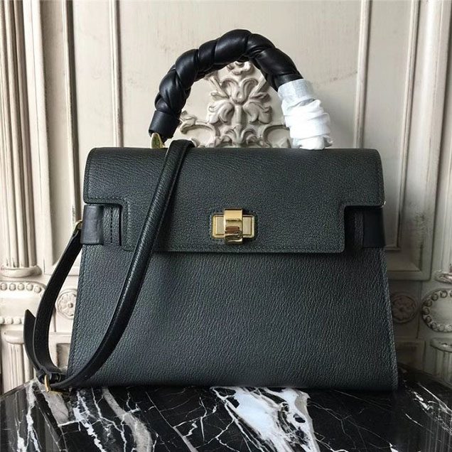 Miu Miu Madras Click Satchel 31 Bag Goatskin Leather Fall Winter 2017 Collection Black