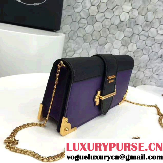 Prada Cahier Calf Leather And Saffiano Leather Clutch Bag 1BF048 Purple/Black 2017