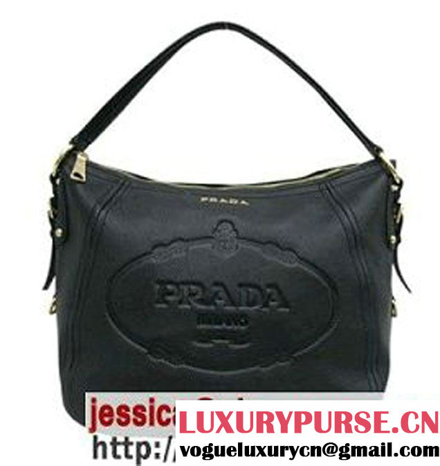 Prada Calfskin Hobo Shoulder Bag Red BR4567 Black - $189.00
