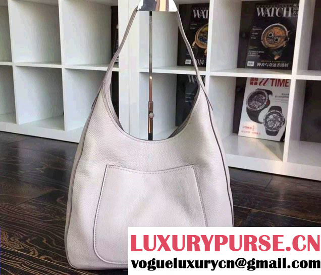 Prada Corsica Calf Leather Hobo Shoulder Bag 1BC013 Gray 2015