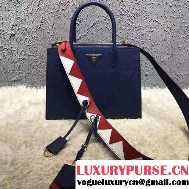 Prada Saffiano Calf Leather Paradigme Bag 1BA102 Blue 2017 (OZZ-7010302 )