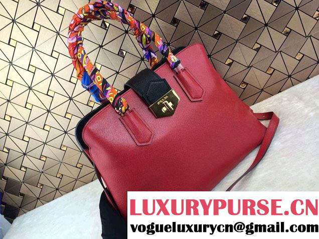 Prada BN2755 Saffiano Cuir Leather Tote Bag Red 2014