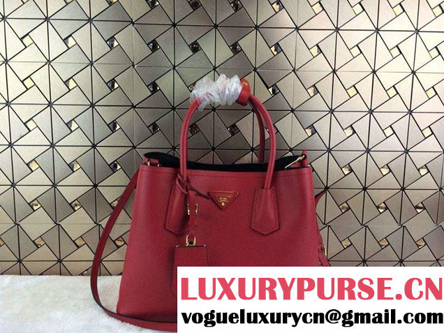 Prada Saffiano Cuir Leather Tote Bag B2756T Red 2014