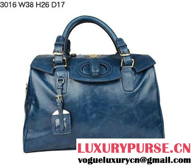 Prada Iridescent Leather Tote Bag BL3016 RoyalBlue