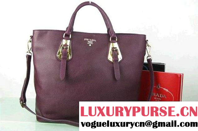 Prada BN1902 Original Calf Leather Tote Bag Fuchsia