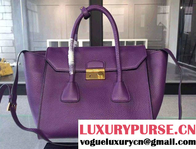Prada Clemence Leather Tote Bag 2669 Purple 2015